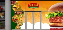 Window Graphic with Modern Graphic Design for Fast Food Restaurant