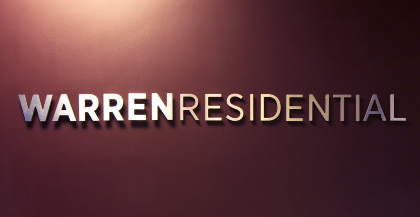 Close View of WarrenResidential Non-Illuminated 3D Letters and Logos