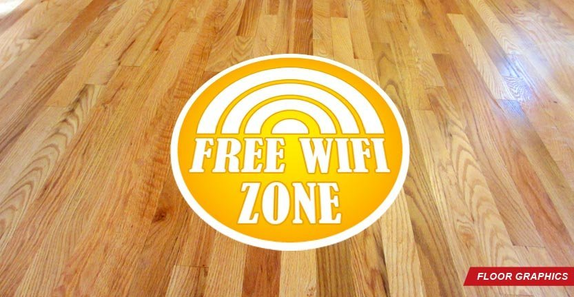 Floor Graphic in Yellow with Text Free Wifi Zone