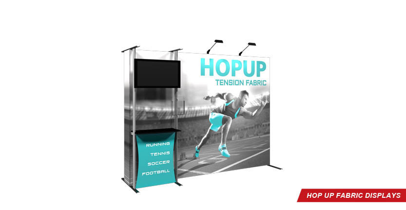 High Quality Hop Up Fabric Display 3x3 with Monitor Mount and one stands-off from left
