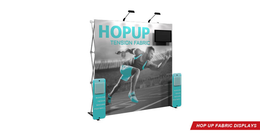 High Quality Hop Up Fabric Display 3x3 with Monitor Mount and two stands-off