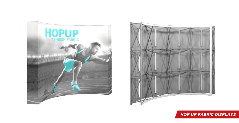 Front And Back of High Quality Hop Up Tension Fabric Display