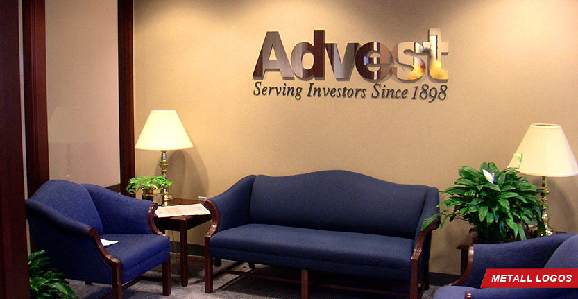 Metal Lobby Logo For Advest serving investors since 1898