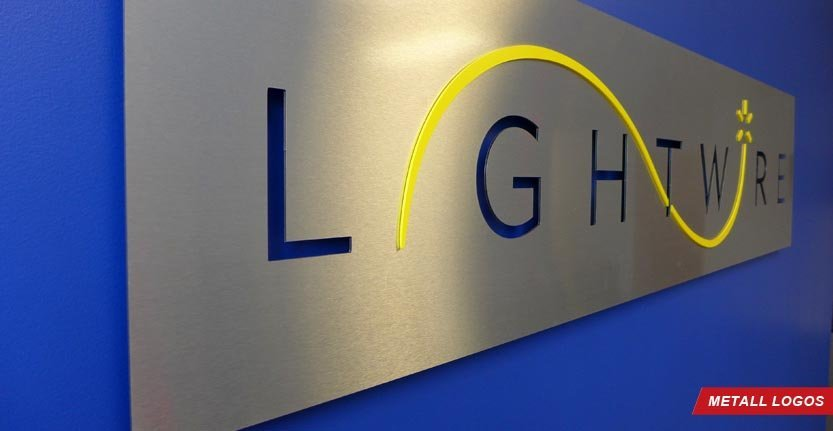 Side View of High Quality Metal Lobby Logo