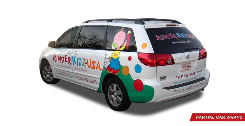 Back Left View of Kinder Kidz USA High Quality Custom Partial Car Wrap