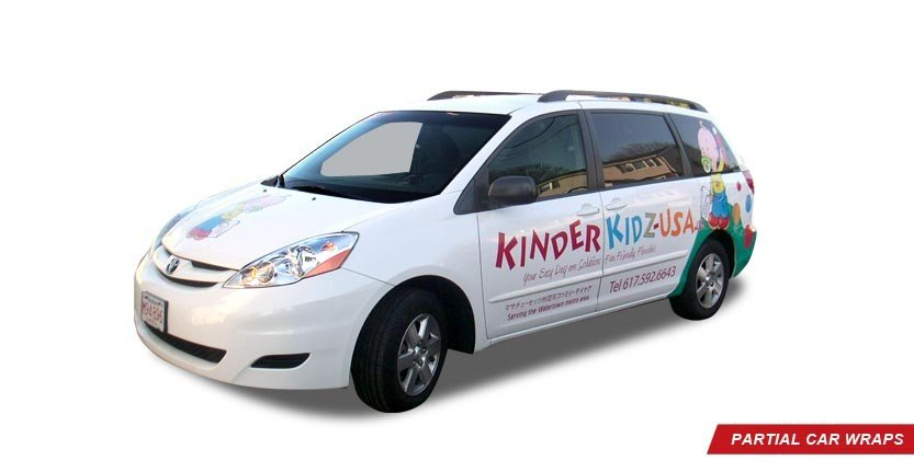 Front Right View of Kinder Kidz USA High Quality Custom Partial Car Wrap