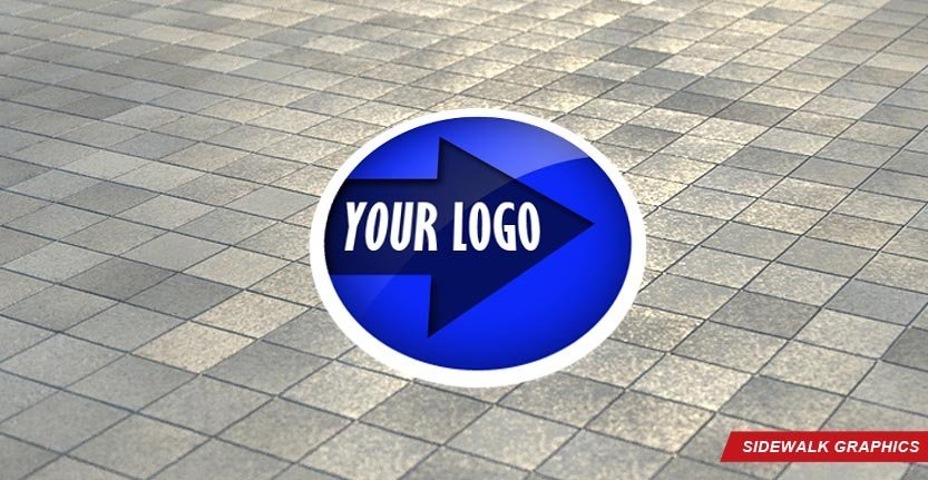Sidewalk Floor Graphic in Blue Color and with Your Logo