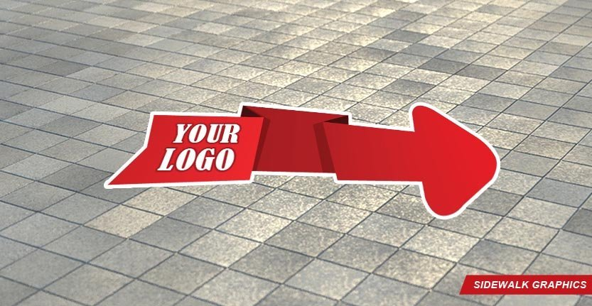Sidewalk Floor Graphic in Red Color and with Your Logo