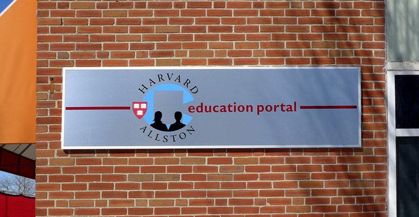 Close View of Wall Sign for Educational Portal
