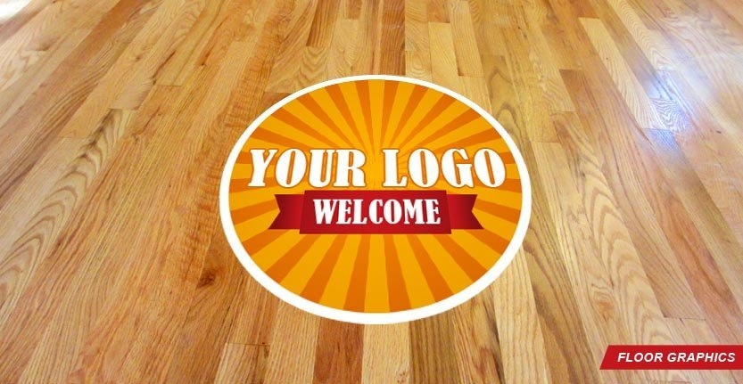 Floor Graphic in Orange with Your Welcome Logo