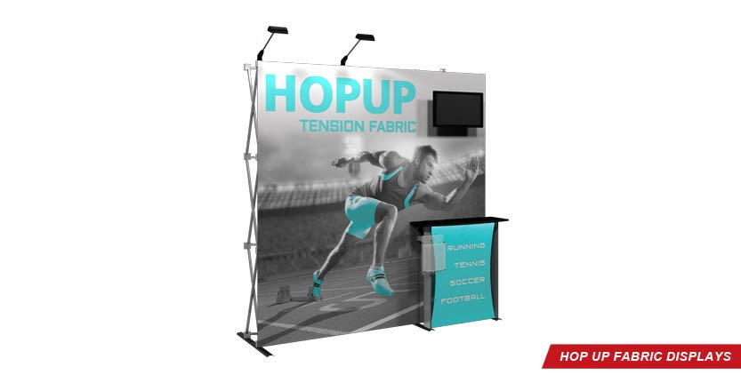 High Quality Hop Up Fabric Display 3x3 with Monitor Mount and one stands-off