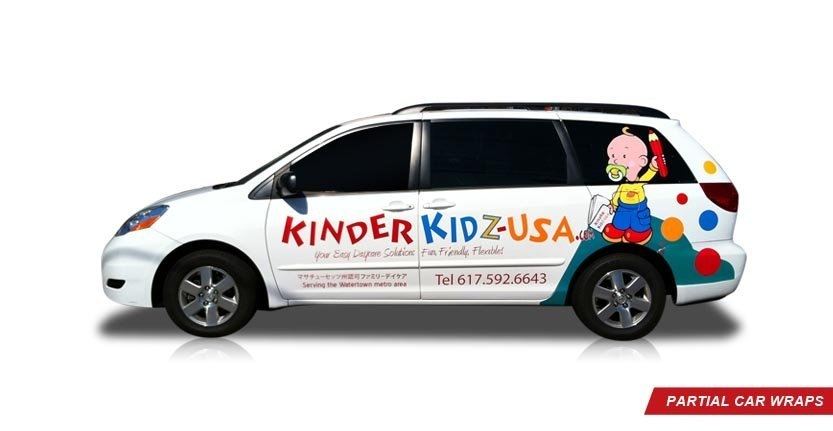 High Quality Custom Partial Car Wrap of Kinder Kidz USA